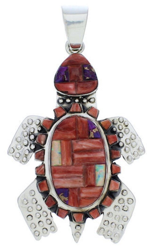 Sterling Silver Turtle Multicolor Pendant MX22267