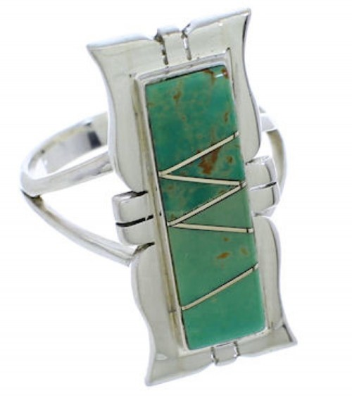 Southwestern Jewelry Turquoise Sterling Silver Ring Size 7-1/2 MX23554