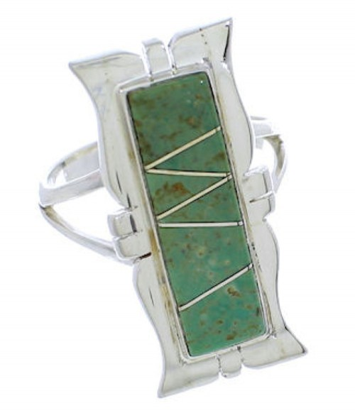 Southwestern Turquoise Jewelry Silver Ring Size 5-1/4 MX23559