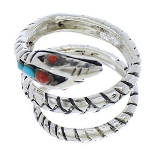 Coral Silver Snake Turquoise Southwest Ring Size 6-1/2 MX23652