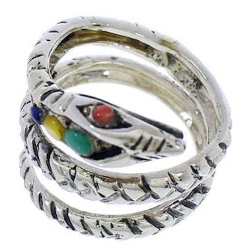 Multicolor Sterling Silver Snake Southwest Ring Size 5-3/4 MX23657