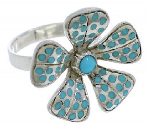 Sterling Silver And Turquoise Inlay Flower Ring Size 8-1/2 RX88417