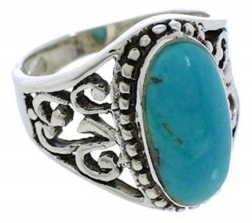 Turquoise Jewelry Authentic Sterling Silver Ring Size 4-3/4 UX33511