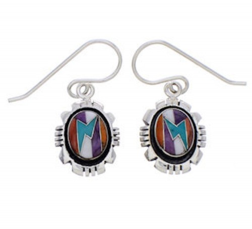 Multicolor Inlay And Sterling Silver Earrings EX32742