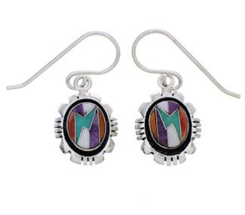 Sterling Silver And Multicolor Inlay Earrings EX32744