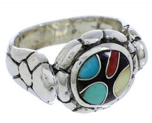 Multicolor Inlay Sterling Silver Ring Size 8 WX39509