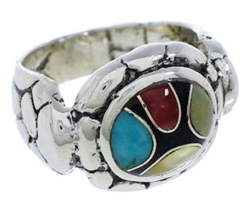 Multicolor Southwest Authentic Sterling Silver Ring Size 6-3/4 WX39553