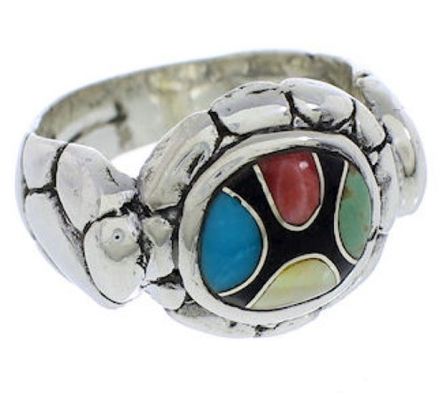 Multicolor Inlay Silver Jewelry Ring Size 5-3/4 WX39562