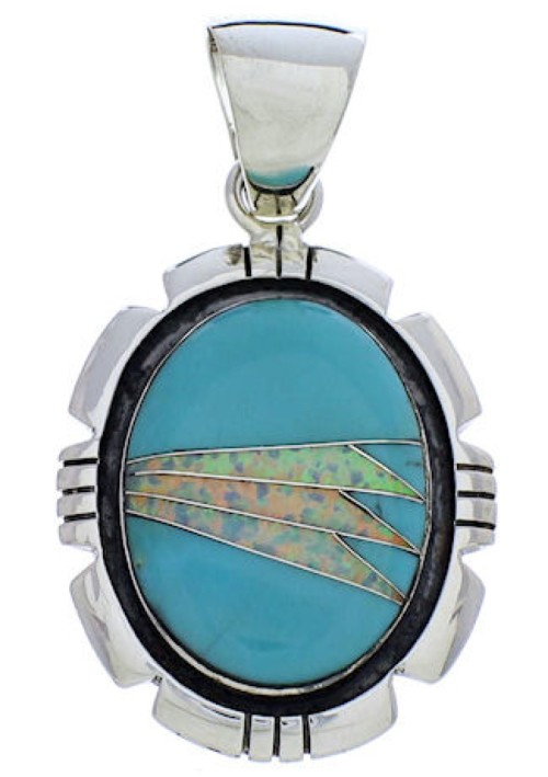 Southwest Jewelry Opal And Turquoise Pendant PX30424