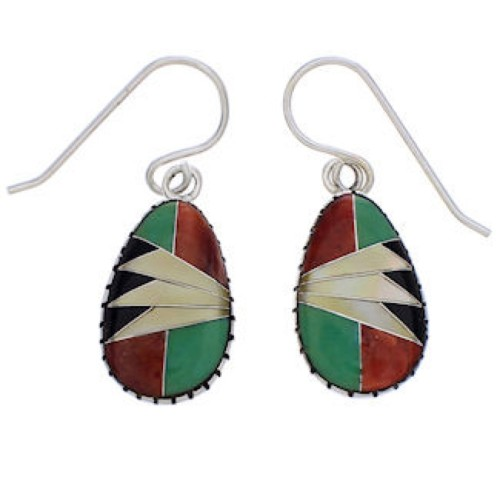 Sterling Silver And Multicolor Inlay Earrings EX32345