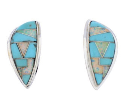 Turquoise And Opal Inlay Sterling Silver Earrings EX32415