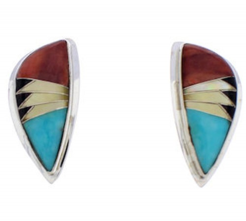 Multicolor Inlay And Sterling Silver Earrings EX32426