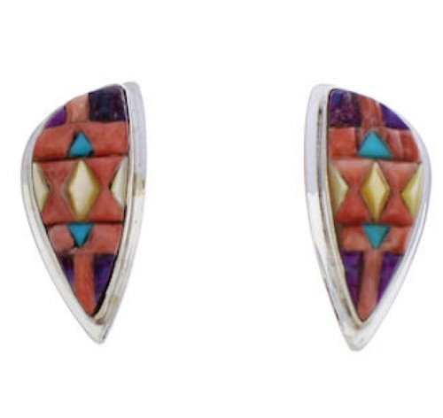 Multicolor Inlay And Silver Southwest Earrings EX32435