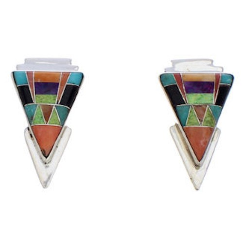 Southwestern Multicolor Inlay Silver Earrings EX32463