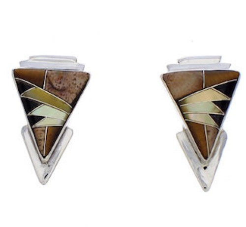 Tiger Eye And Multicolor Inlay Silver Earrings EX32466