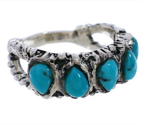 Authentic Sterling Silver Turquoise Ring Size 5 WX34697