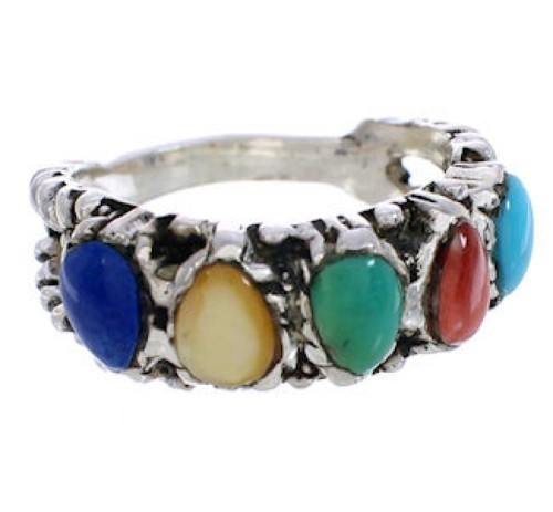 Silver Southwest Multicolor Ring Size 5-3/4 WX34838