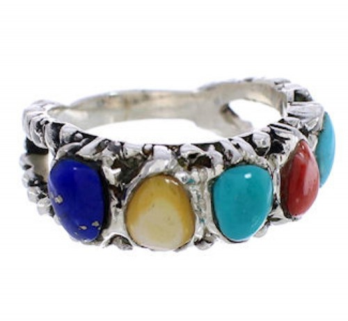 Silver Multicolor Southwestern Ring Size 8-1/4 WX34840