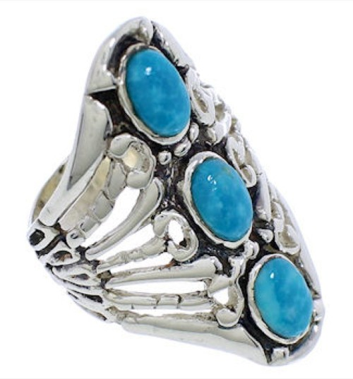 Genuine Sterling Silver Turquoise Ring Size 4-1/2 UX32731
