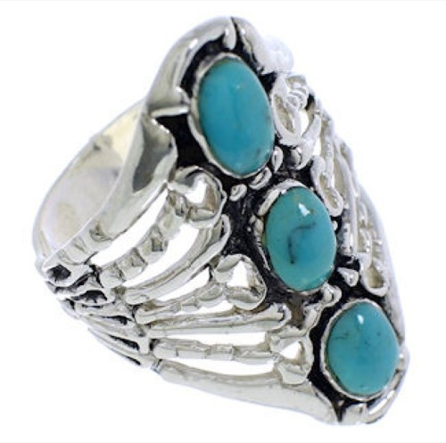 Sterling Silver Jewelry Turquoise Ring Size 5-1/4 UX32833