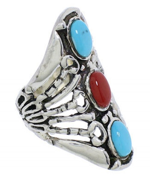 Turquoise Coral Sterling Silver Southwestern Ring Size 4-1/2 UX32892