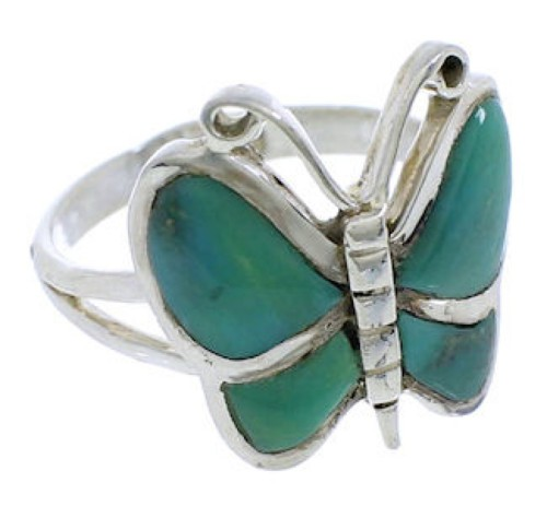 Butterfly Genuine Sterling Silver Turquoise Ring Size 8-1/2 UX33050