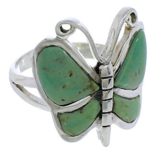 Butterfly Southwestern Silver Turquoise Ring Size 5-3/4 UX33069