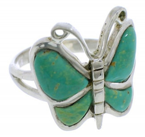 Turquoise Butterfly Jewelry Sterling Silver Ring Size 5-3/4 UX33085
