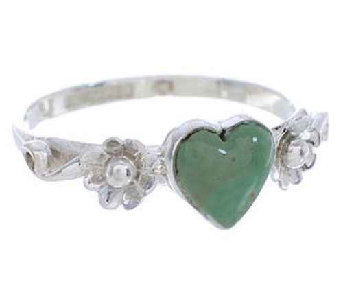 Genuine Sterling Silver Turquoise Flower Heart Ring Size 6-1/4 UX34921