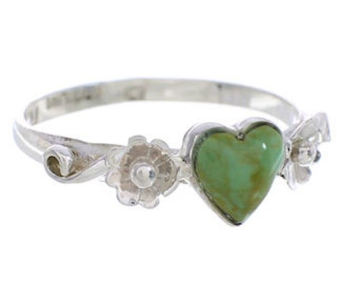 Authentic Silver Turquoise Flower Heart Ring Size 6-1/4 UX34980