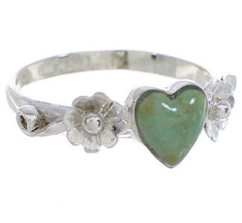 Sterling Silver Turquoise Jewelry Heart Flower Ring Size 6-3/4 UX34999