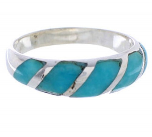 Authentic Sterling Silver Southwest Turquoise Inlay Jewelry Ring Size 5-1/4 AX87748