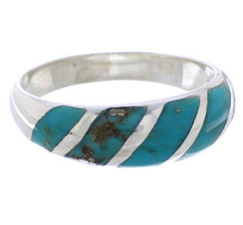 Silver And Turquoise Inlay Jewelry Ring Size 6-3/4 UX35026