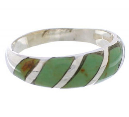 Authentic Sterling Silver Turquoise Inlay Ring Size 7-1/4 UX35134
