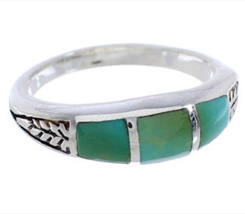 Southwest Sterling Silver Turquoise Inlay Ring Size 7-1/4 UX35200