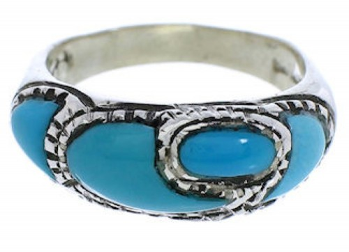Sterling Silver Turquoise Southwest Inlay Ring Size 5-1/2 JX37337