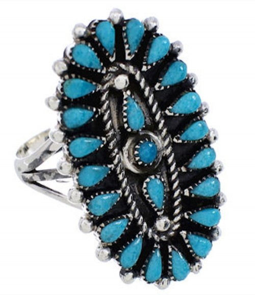 Needlepoint Turquoise Sterling Silver Ring Size 8-1/2 YX35031