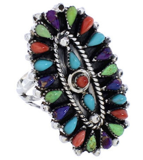 Needlepoint Multicolor Genuine Sterling Silver Ring Size 6-1/4 YX35140