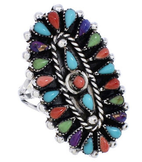 Multicolor Needlepoint Genuine Sterling Silver Ring Size 6-3/4 YX35141