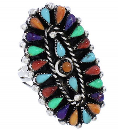 Needlepoint Multicolor Southwest Sterling Silver Ring Size 6 YX35211