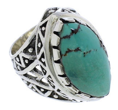 Genuine Sterling Silver Turquoise Southwestern Ring Size 5-1/4 TX38911