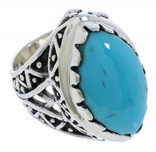 Southwestern Turquoise Genuine Sterling Silver Ring Size 4-3/4 TX38960
