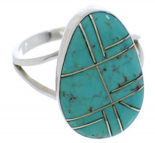 Southwestern Sterling Silver Turquoise Jewelry Ring Size 5-3/4 TX38986