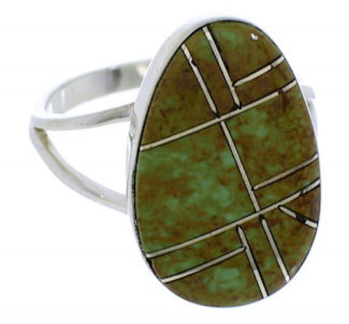 Silver Turquoise Inlay Southwest Jewelry Ring Size 5-1/2 TX39005