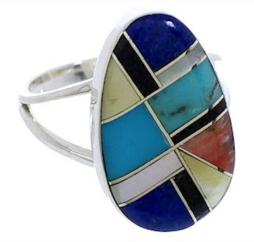 Southwestern Sterling Silver Multicolor Inlay Ring Size 6-3/4 TX39256