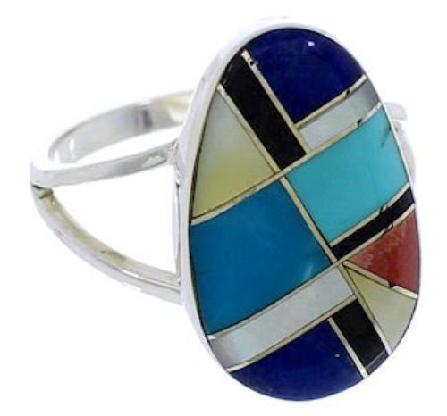 Sterling Silver Southwestern Multicolor Inlay Ring Size 8-1/2 TX39276