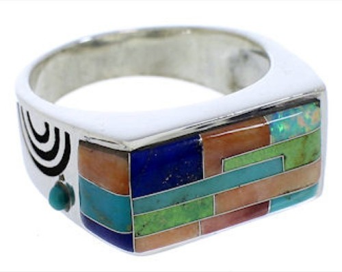 Genuine Sterling Silver Multicolor Ring Size 9-3/4 EX41341