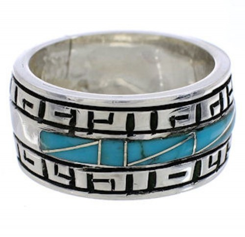 Southwestern Turquoise Inlay Sterling Silver Ring Size 8-1/2 TX38441