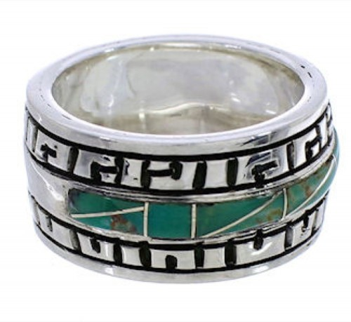 Turquoise Inlay Sterling Silver Southwest Ring Size 7-1/2 TX38463