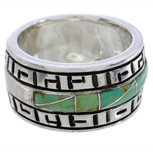 Silver And Turquoise Ring Size 6-3/4 TX38537